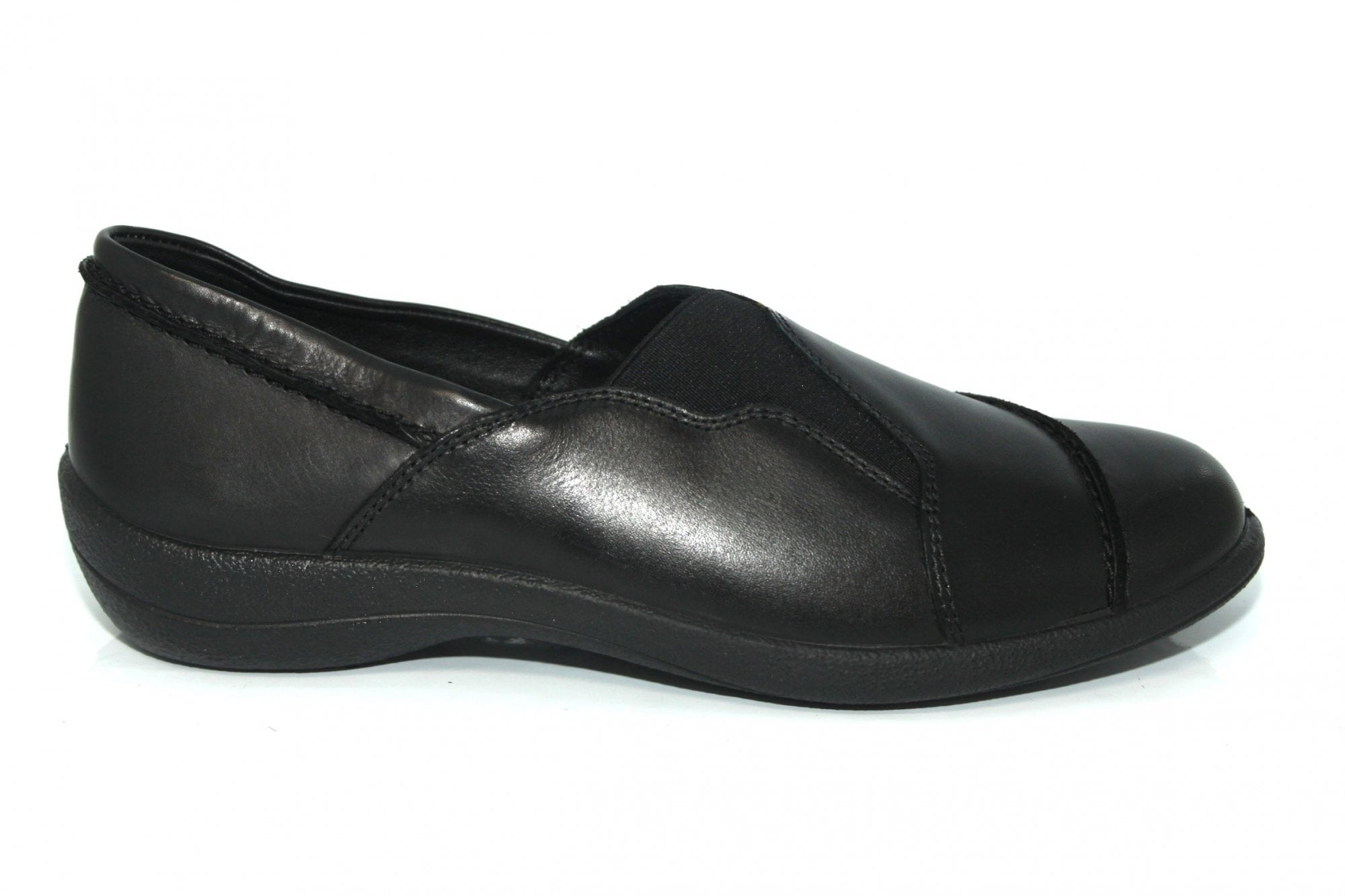 Padders RUTH Ladies Womens Leather Wide Slip On Comfort Loafers Shoes Black